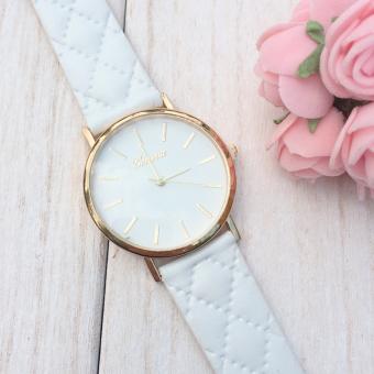 Womens Watches Grid Unisex Leather Quartz Dress WristWatch White
