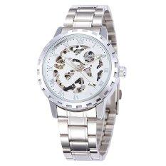 Wuhup SHENHUA 2016 New Series Gear Bezel Fashion Casual Design Full Silver Mechanical Watch Men Top Brand Luxury Automatic Watch Men