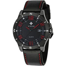 WWOOR 8014 Day Display 50m Waterproof Genuine Leather Band Men's Sport Watch (Red) (Intl)