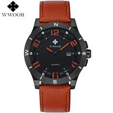 Wwoor 8814 Men - Casual (Brown Red) / Jam Cowok Kulit (Genuine Leather) / Tahan Air / Warna Tidak Luntur