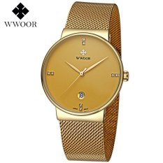 Wwoor 8818 Luxury And Elegant / Jam Tangan Formal Tipis / Jam Wwoor Pria / Rantai Stainless Steel (Gold)