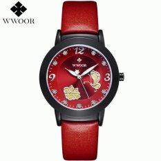 WWOOR 8822 Flower Butterfly Pattered Diamonds Hours Women Dress Watch (Red) (Intl)