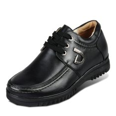 X561.2.56 Inches Taller Men's Height Increasing Elevator Calf Leather Casual Shoes (Black)