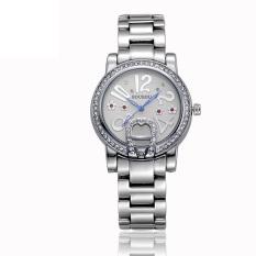 Xfsmy Sousou Spot New White Diamond Imitation Watches Exquisite Gold Diamond Bracelet Watch Ms. Ceramic Table (Silver)