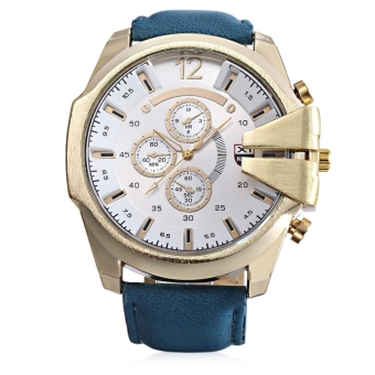 Xinew 0201 Male Quartz Watch Large Dial Decorative Sub-dial Luminous PU Band Wristwatch (White)