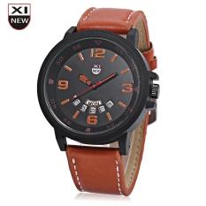 Xinew 7728 Men Quartz Watch Day Date Dispaly Big Dial Leather Strap Wristwatch (ORANGE)
