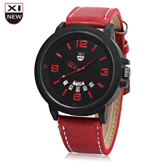 Xinew 7728 Men Quartz Watch Day Date Dispaly Big Dial Leather Strap Wristwatch (RED)