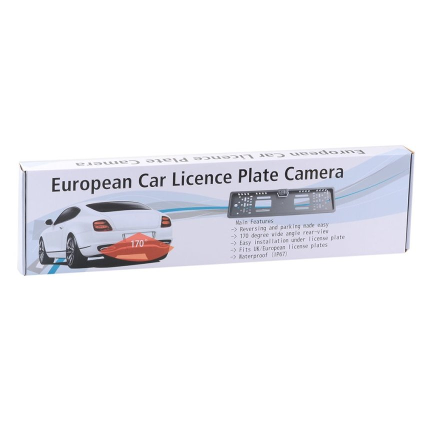 XY-1650 Car License Plate Rearview Camera with 4-LED Night Vision for Europe - Black (Intl)