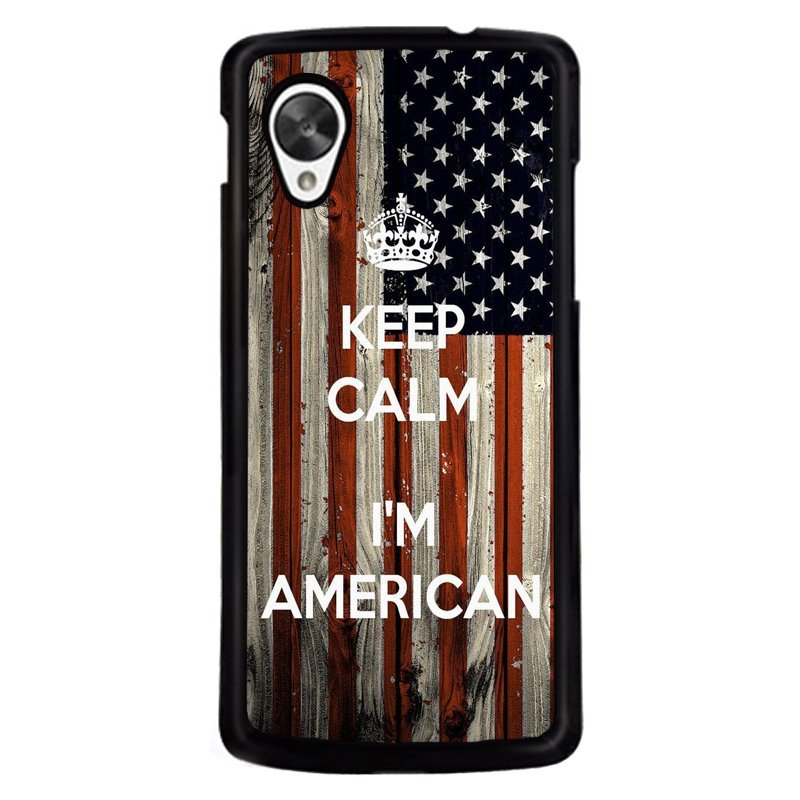 Y&M Cell Phone Case For LG NEXUS 5 Keep Calm I'm American Printed Cover (Multicolor)