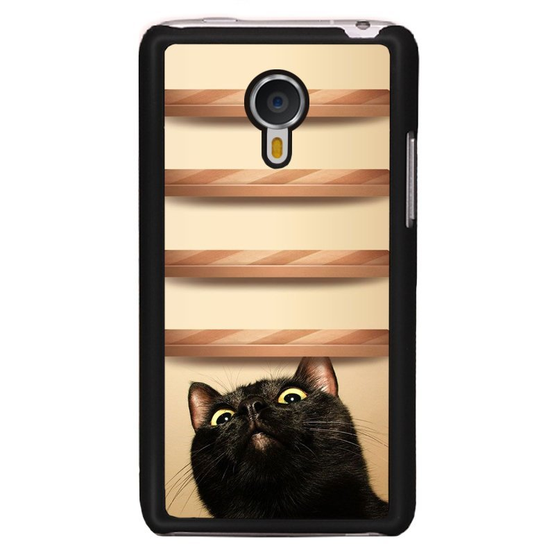 Y&M Cell Phone Case For Meizu MX 4 Cute Black Cat Pattern Cover (Multicolor)