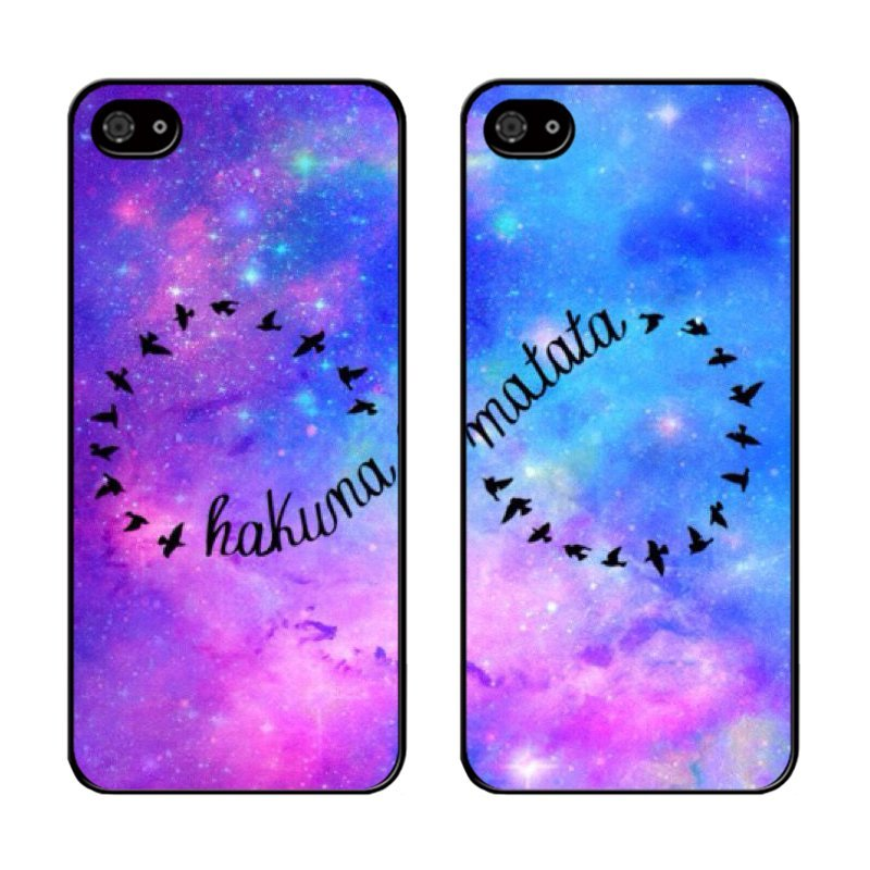 Y&M Cell Phone Couple Case For iPhone 5c Hakuna Matata Galaxy Pattern 2PC Cover (Multicolor)