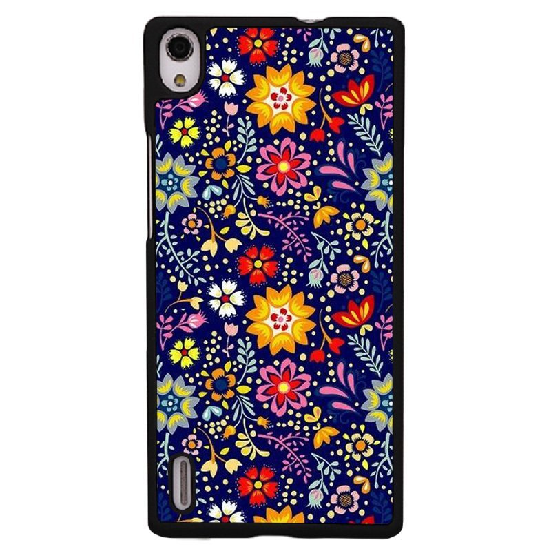 Y&M Colorful Flowers Pattern Cover for Huawei P7 (Black)