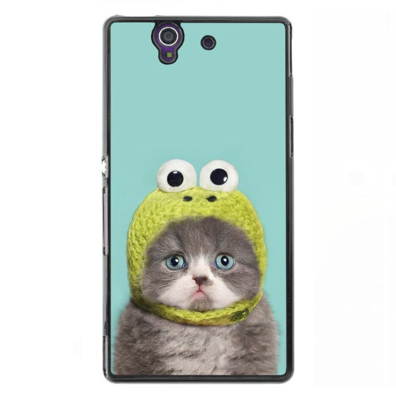 Y&M Cute Cat Flog Hat Phone Case for Sony L36H Black