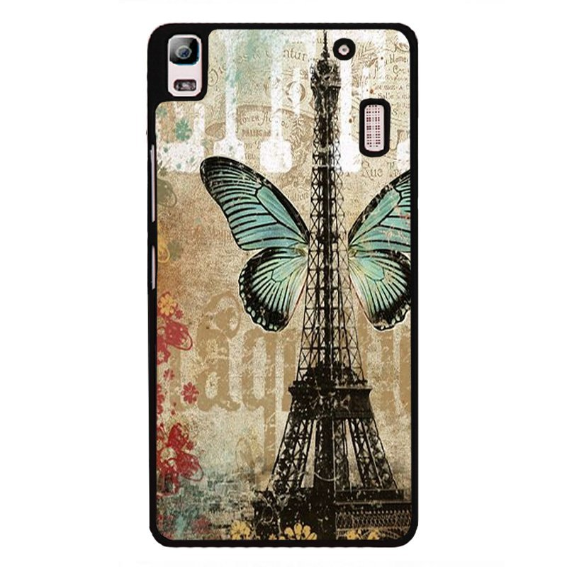 Y&M Eiffel Tower Blue Butterfly Pattern Phone Case for Lenovo A7000 (Multicolor)