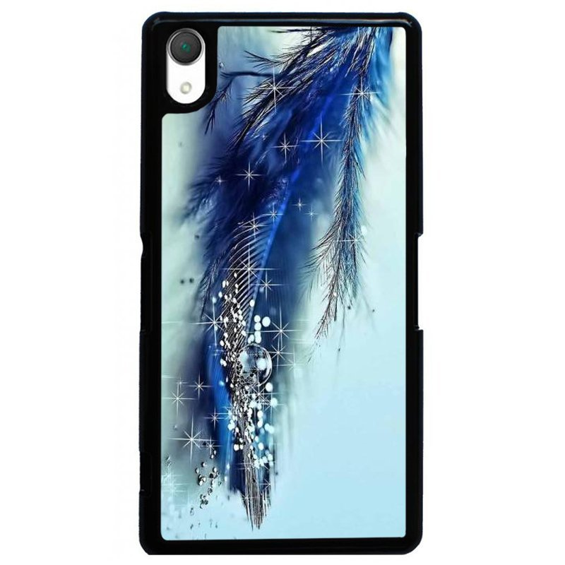 Y&M Feather Water Dots Pattern Phone Case for SONY Xperia Z4 Blue