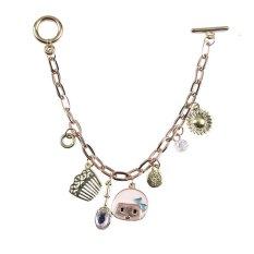 Yazilind Cute Women Gold Plated Doll Rhinestone Bracelet (Intl)