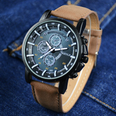 YAZOLE Men Watches Luminous Pointer Luxury Sports Military Watch PU Leather Band Analog Quartz Wristwatch Blue Dial (Brown Strap) - Intl