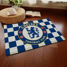 Yika Absorbent Soft Coral Velvet Non-Slip Bathroom Floor Mat Rug Football Team Chelsea (Multicolor)
