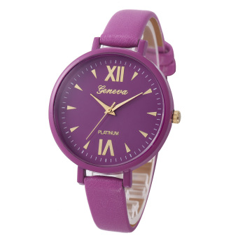 Yika Women Geneva Roman Leather Band Analog Quartz Wrist Watch (Purple) (Intl)