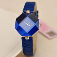 Yika Women Rhinestone Synthetic Leather Analog Quartz Wrist Watch (Blue)