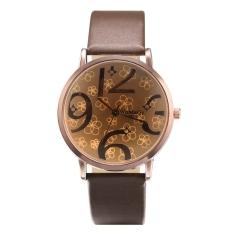 Yika Women Synthetic Leather Large Dial Quartz Analog Wrist Watch (Brown)