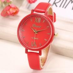 Yika Women Thin Leather Belt Quartz Analog Wrist Watch (Red)