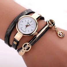 Yika Women's Men Fashion Ladies Faux Leather Rhinestone Analog Quartz Wrist Watches (Black) (Intl)
