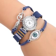 Yika Women's Rhinestone Handmade Friendship Bracelet Quartz Wrist Watch (Blue)