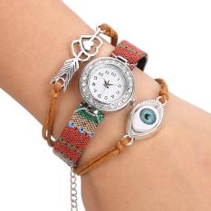 Yika Women's Rhinestone Handmade Friendship Bracelet Quartz Wrist Watch (Brown)