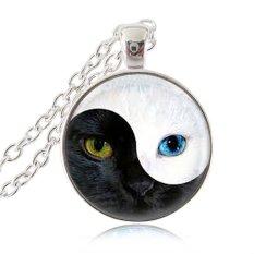 Yin Yang Cat Necklace Magic Animal Pendant Ying Yang Cat Eye Jewelry Glass Cabochon Pendant Silver Chain