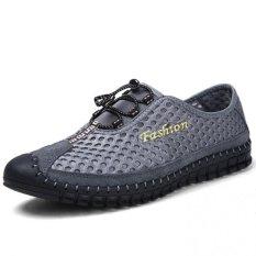 YINGLUNQISHI Men's Breathable Shoes Bungee Mesh Sneakers J25 (Gray) (Intl)