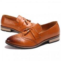 YINGLUNQISHI Men's Bullock Wingtip Leather Dress Shoes (Yellow) JC-005