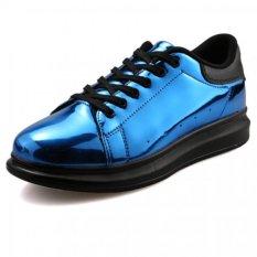 YINGLUNQISHI Men's Fashion Casual Lace Up Leather Shoes (Blue) (Intl)