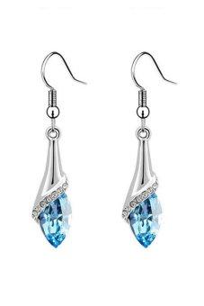 Yiwumall Zircon Earring Fashion Style Ultra Large Zircon In Sky Blue Jewelry Anti Allergy High