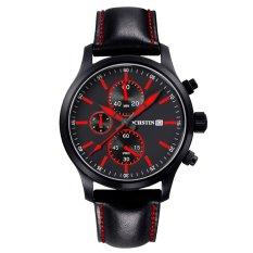 YJJZB Switzerland Ochstin Genuine New Men's Sports Watch Waterproof 6-pin Male Personality Watch Big Dial Leather (Red)
