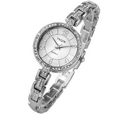 Yooyvso Authentic YAQIN Yaqin Female Watch 7200 Fashion Watch Female Models Bracelet Watch Fashion Ladies Watches (Silver)