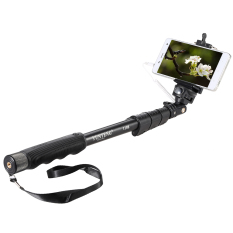YunTeng YT-1188 Selfie Stick Monopod Tongsis With Built-in AUX Cable And Phone Clip - Hitam