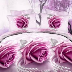 ZHENGQI 4 Pcs Sueding 3D Quilt Cover Pillowcases And Bed Linen Set (Purple Rose) (Intl)