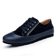 ZNPNXN Leather Men's Casual Shoes Low Cut Fashion Sneakers(Blue)