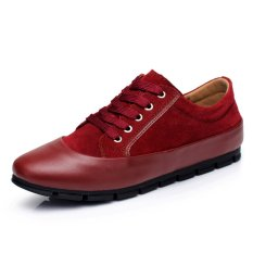 ZNPNXN Leather Men's Casual Shoes Low Cut Fashion Sneakers (Red) (Intl)