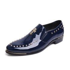 ZNPNXN Leather Men's Fashion Fromal Low Cut Shoes (Blue) - Intl