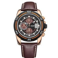 ZNPNXN Men's Business Watches Megal Watches With Calendar Time Men 's Leather Watches Business Leisure Quartz Watches (Brown)