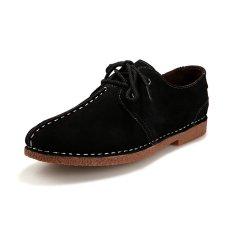 ZNPNXN Suede Men's Formal Shoes Low Cut (Black) - Intl