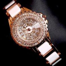 ZNPNXN Women's Fashion Luxury Ladies Ceramic Diamond Diamond Watch Luxury Diamond Table Full Of Women's Watches(Gold)