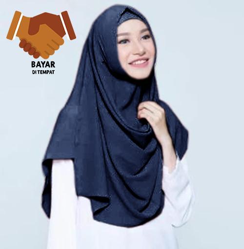 Cotton Bee Pashmina Instan Sabrina - Jilbab Instan Kerudung Berkualitas - Navy
