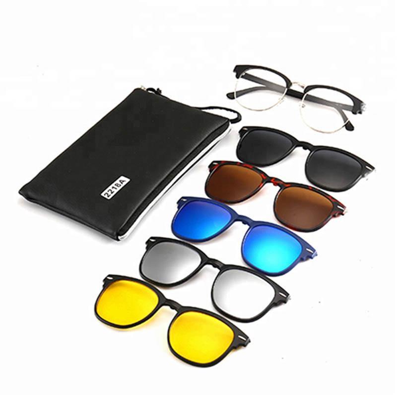 Sunglasses Kacamata Hitam RIZO 2218A Clip On 5 Lensa Magnetic Polarized Clip-On Plastic Frame Vinta