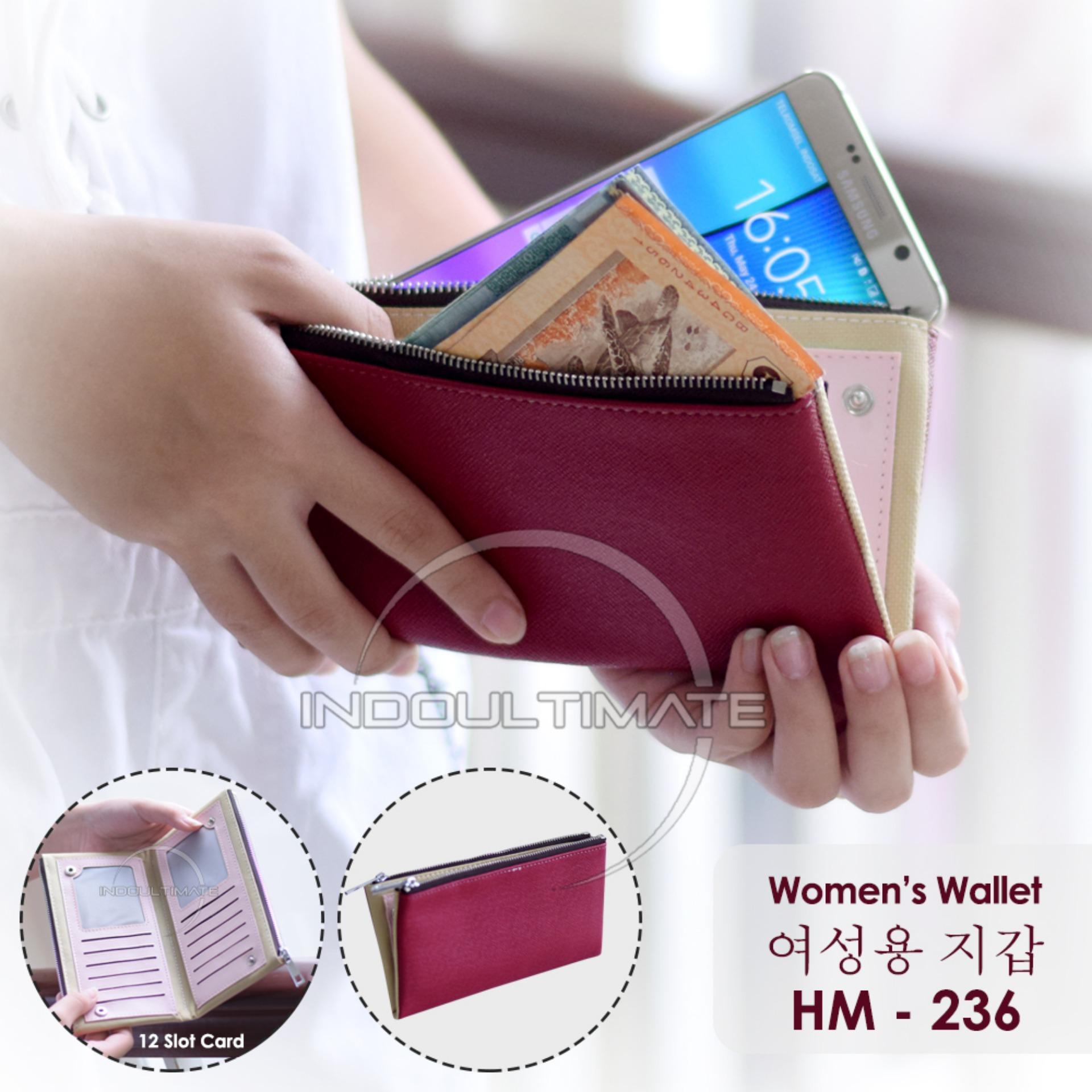 Ultimate Dompet Wanita HM-236 - Maroon / Dompet Cewek / Cewe Kartu ATM Panjang Kulit Import Murah Lucu