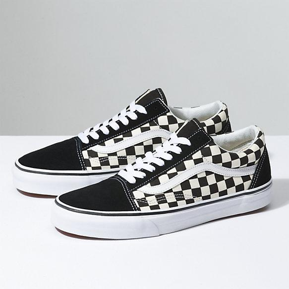 Sepatu Vans Primary Check Old Skool black white