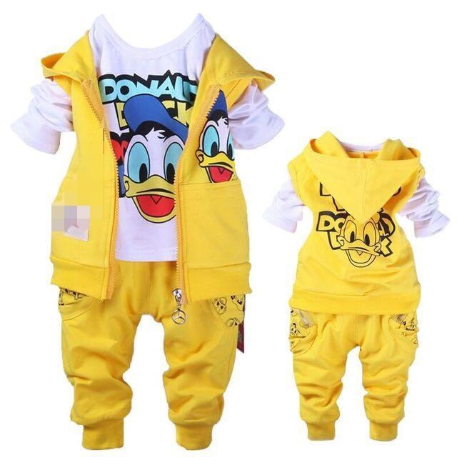 Fashionshop STELAN 3in1 DUCK - Kuning / Baju Anak Cowo/ Setelan Anak Laki-laki