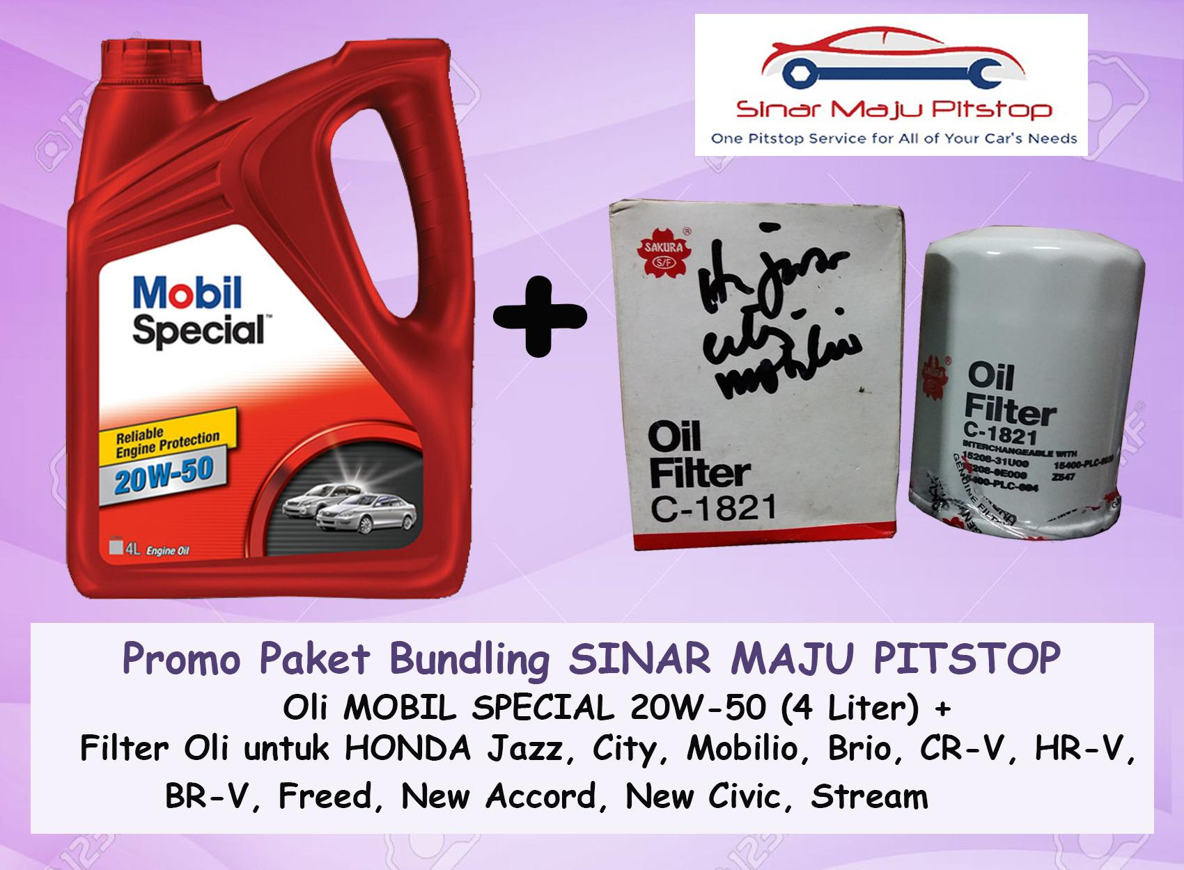Promo Paket Bundling Oli MOBIL SPECIAL 20W-50 API SN 4 LITER & Filter Oli HONDA JAZZ &HONDA ALL NEW JAZZ RS ORIGINAL